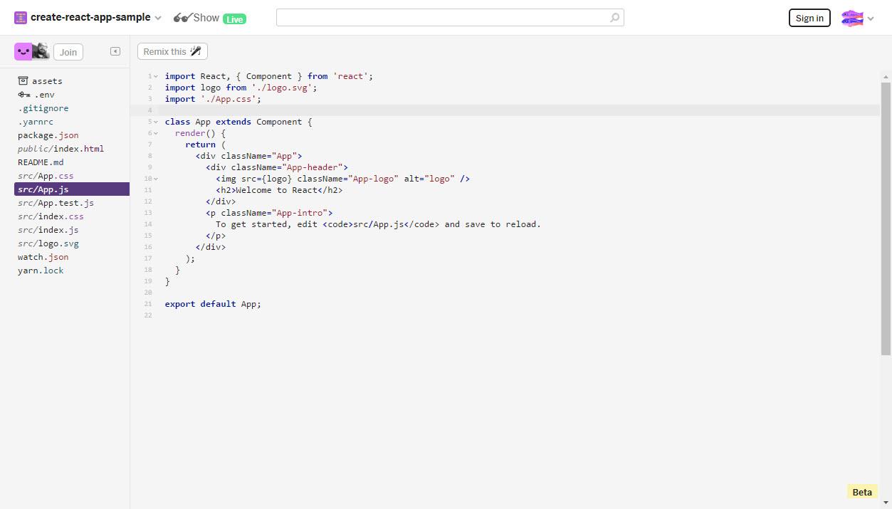 Glitch online code editor
