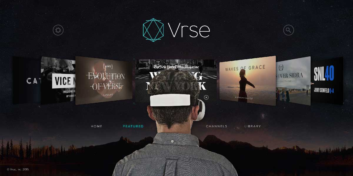 VRSE is one of the best Google Cardboard apps available today. Picture shows a man wearing a Gear VR to watch VRSE app.