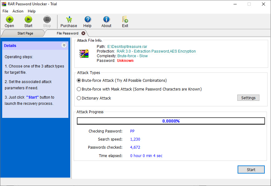 Screenshot of RAR password unlocker by passwordunlocker.com