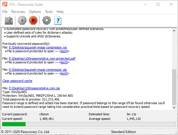 Passcovery Suite recovering a zip password at extremely high speeds on a home PC.