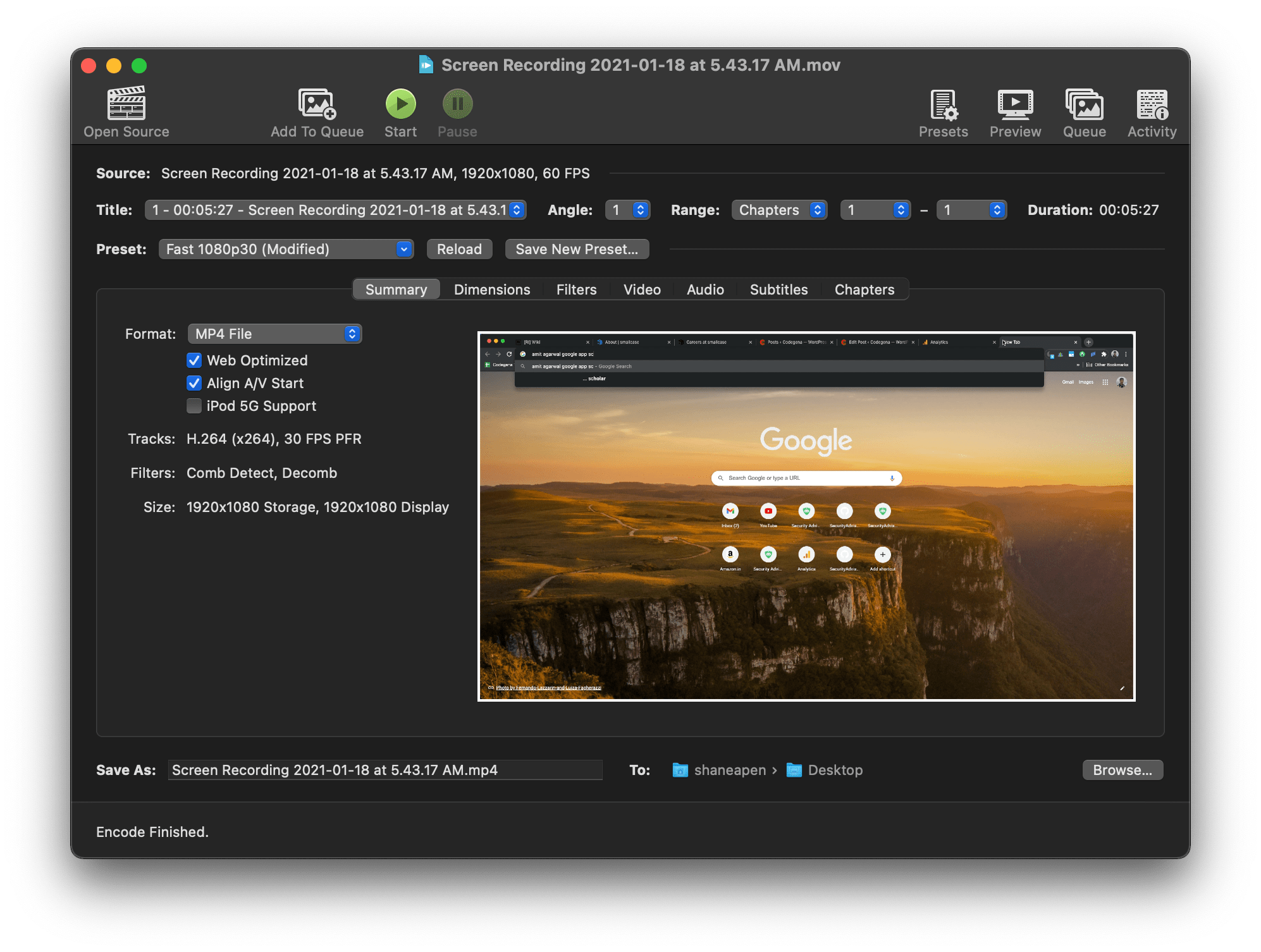 Reduce QuickTime Screen recording file size with handbrake