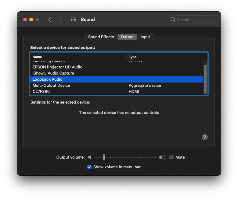 Change sound source in macOS after installing loopback to record system audio.