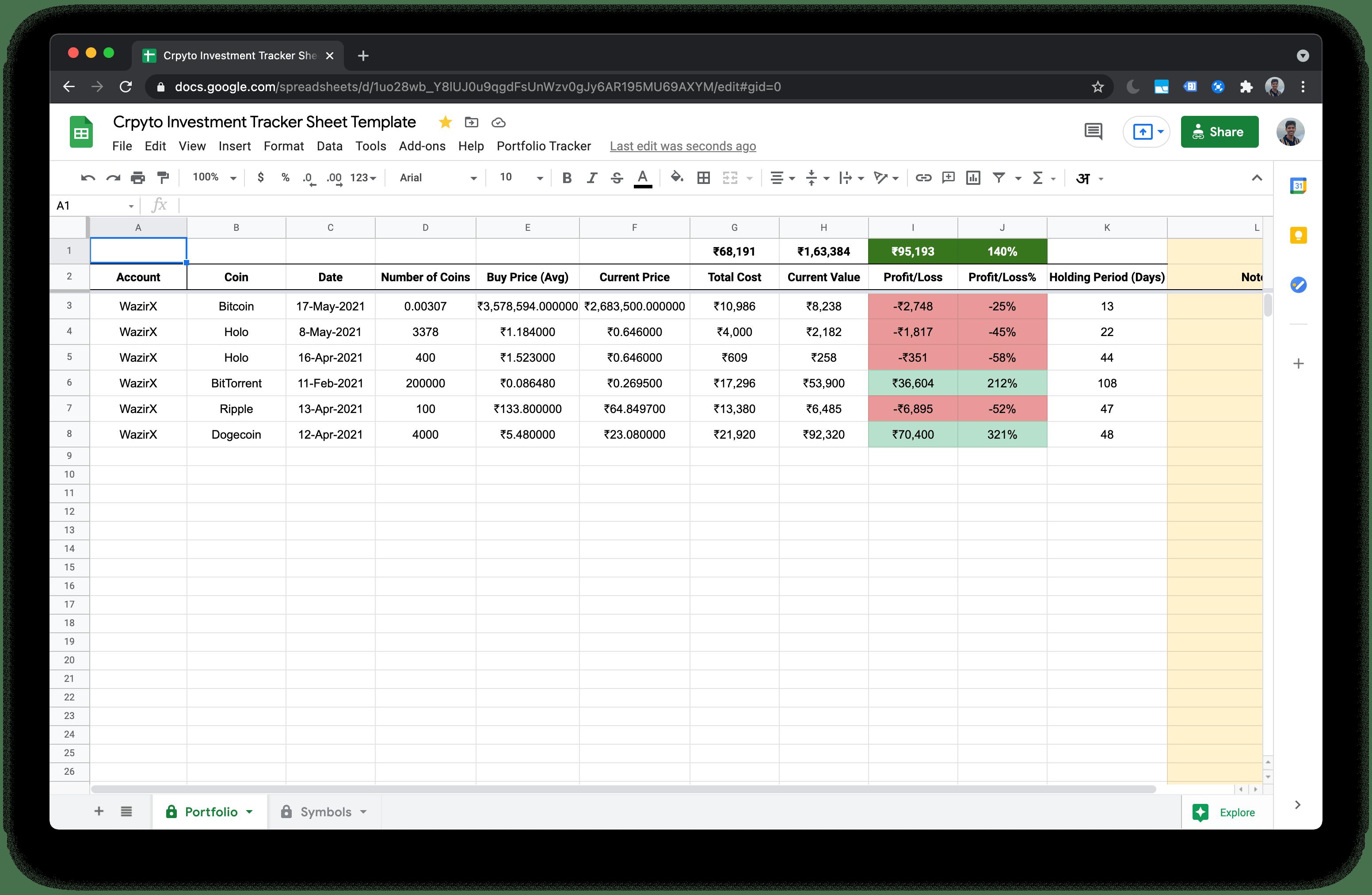 Screenshot of the Crpyto portfolio tracker sheet offered by codegena.com
