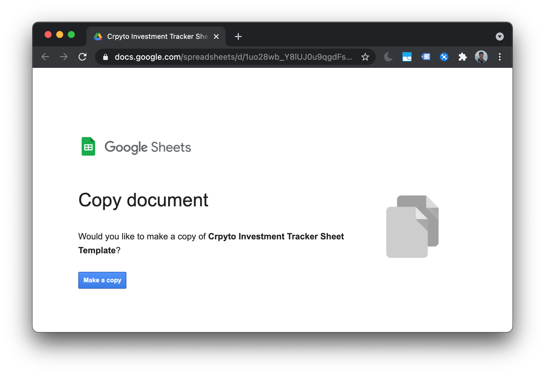 Copy the portfolio tracker template sheet to your Google Account